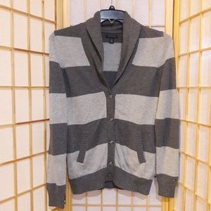 Tommy Hilfiger Striped Gray Cardigan Sweater S